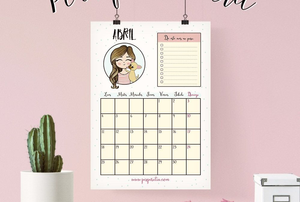 Calendario abril 2016 descargable