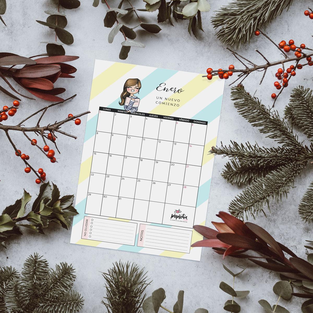 Planificador descargable e imprimible para enero 2018 de Pizpiretia