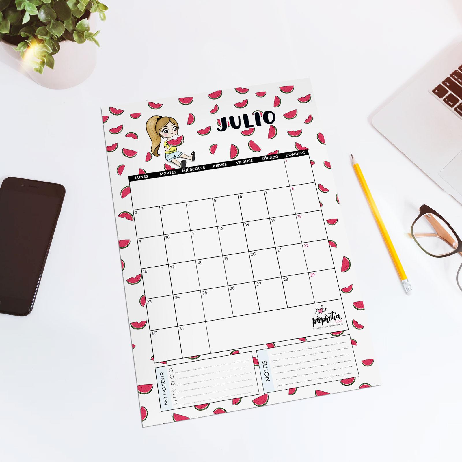 Planificador descargable e imprimible para julio 2018 de Pizpiretia