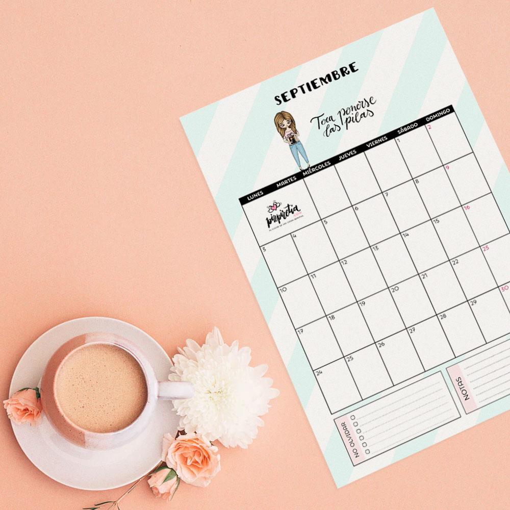 Planificador descargable e imprimible para septiembre 2018 de Pizpiretia